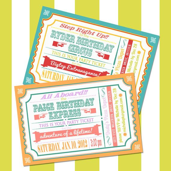Train or Circus Ticket Invitation for Boy or Girl Birthday, Printable, Thank you card, Baby Shower Invite. $15.00, via Etsy.