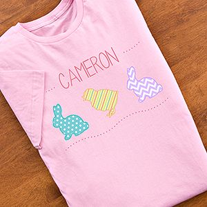 Awww!!! I LOVE this Easter Design - it's so cute! These Personalized Kids Easter Clothes come in all sizes and colors for boys and girls ... adorable! I love the bunny and the chicks! #Easter #Bunny #Chick
