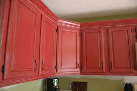 Cottage kitchen part antique farmhouse style red cabinet makeover