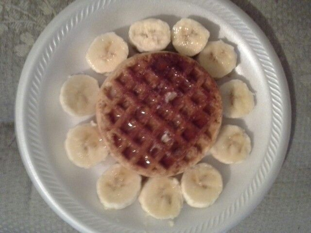 Yummy healthy breakfest. Whole grain waffles and bananas