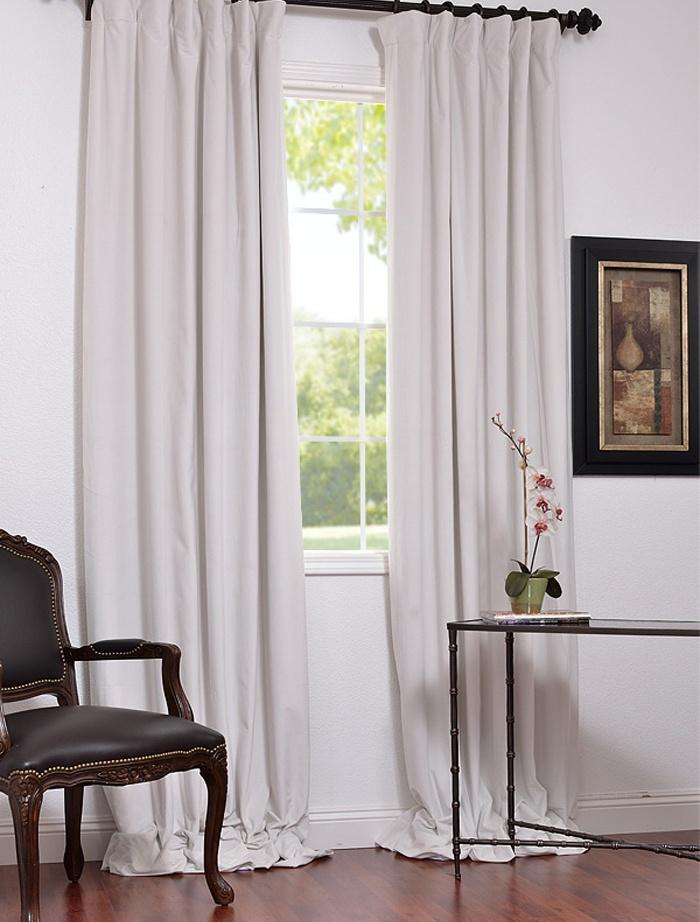 Signature Off White Blackout Velvet Pole Pocket Curtain