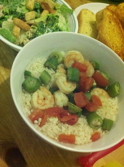 Shrimp gumbo, tx toast, chicken caesar salad