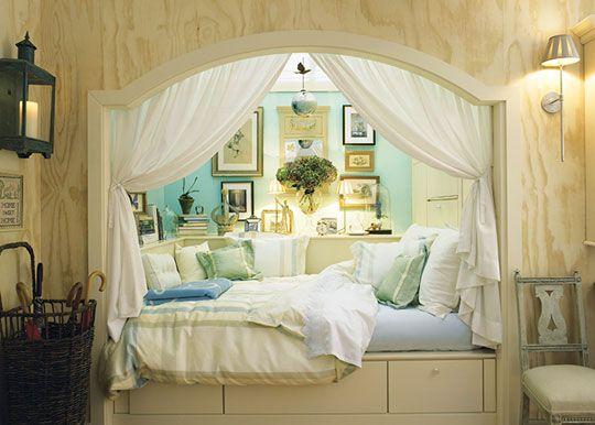 Sleeping alcove. http://penelopesoasis.com/wp-content/uploads/2012/06/beautiful-homemaking.jpg