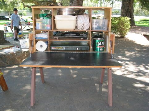 Pin by on chuck box pinterest for Wooden camp kitchen designs