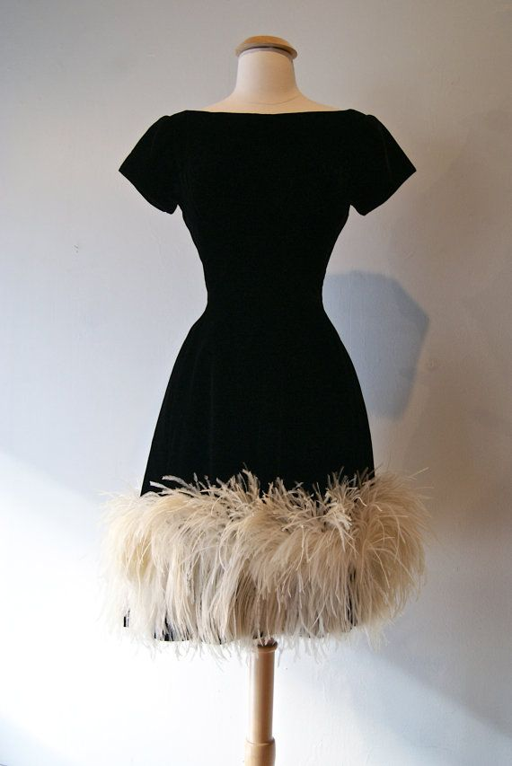 1960s dress vintage 60s black velvet ostrich feather