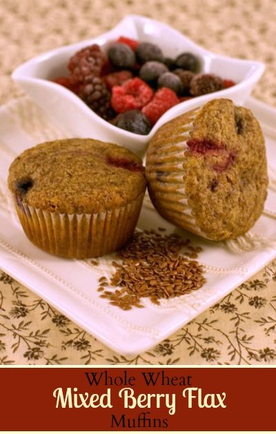 Whole Wheat Mixed Berry Flax Muffins. Great for breakfast, lunch ...