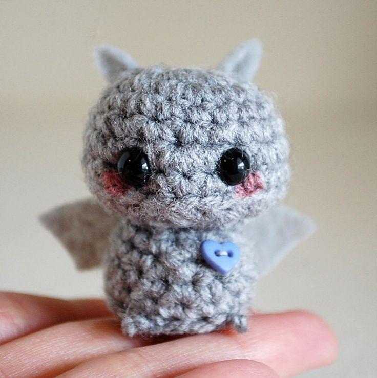 Make Amigurumi Bat Crochet : Gray Mini Bat Amigurumi - Kawaii Halloween Decoration