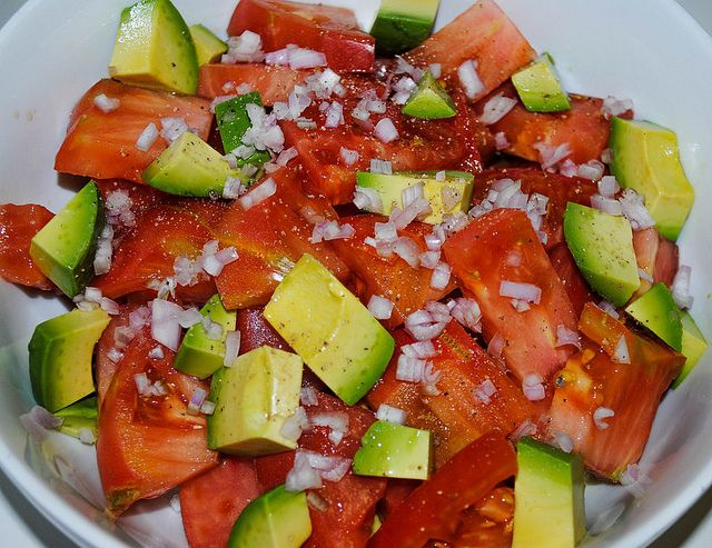 Avocado Salad With Heirloom Tomatoes Recipe — Dishmaps