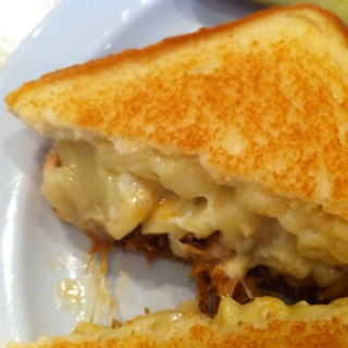 pulled pork & mac n cheese grilled cheese sandwich from uncle betty's...