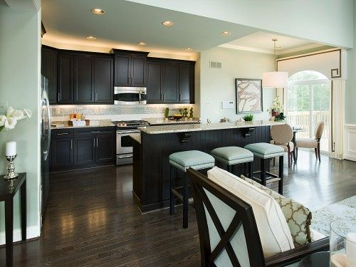 Dark expresso cabinets with light teal walls my cabinets and floors