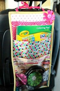 """a tutorial on how to make a hanging book """"bag"""" for the car."""