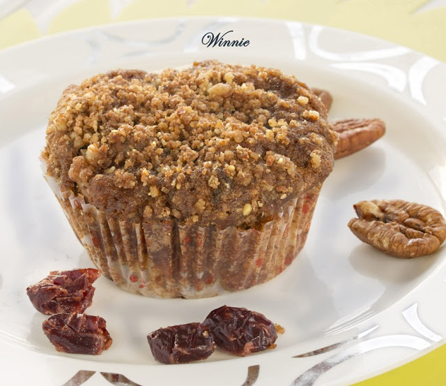 ... Apple Streusel Muffins with whole wheat, cranberry and pecan