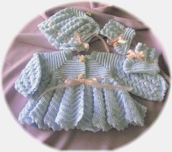 Crochet Pattern for Baby Ripple Stitch Sweater, Bonnet and ...