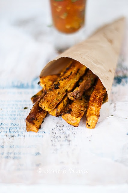 Curried Sweet Potato Fries (baked) with a Tomato Curry Chutney