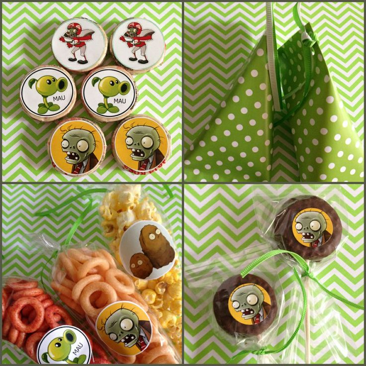 Plants vs zombies sweet table plants vs zombies party for Table zombies