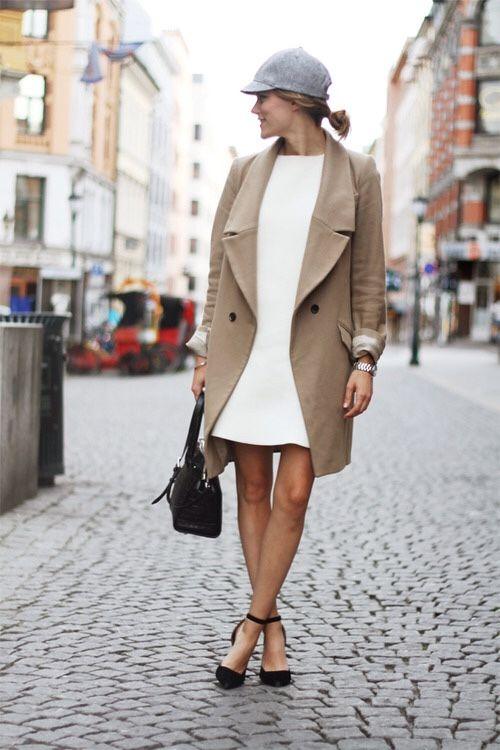 amazing beige oversized lapels coat and pristine white dress...