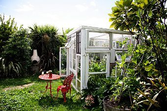 greenhouse via The Selby >> LOVE this outdoor space.