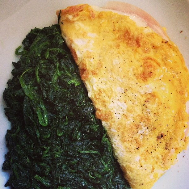 Skinny ham omelette with stir-fried spinach. #healthyfood #lunch - @ ...