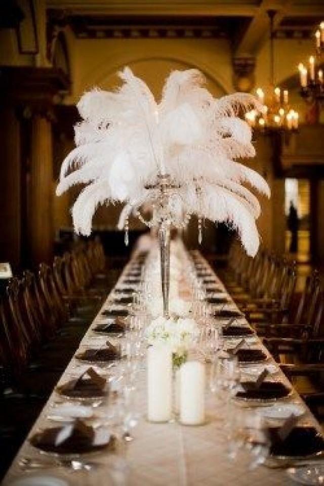 Feather plume centerpiece s spectacular wedding