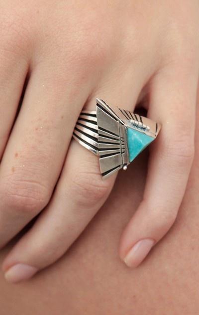 Pyramid poison turquoise ring