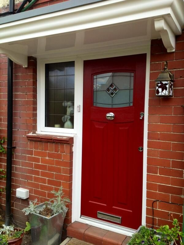 1930 39 s front composite door in red porch and hall for Composite front doors