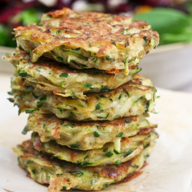 Zucchini Fritters (45 calories, 1.7g fat, protein 3g)