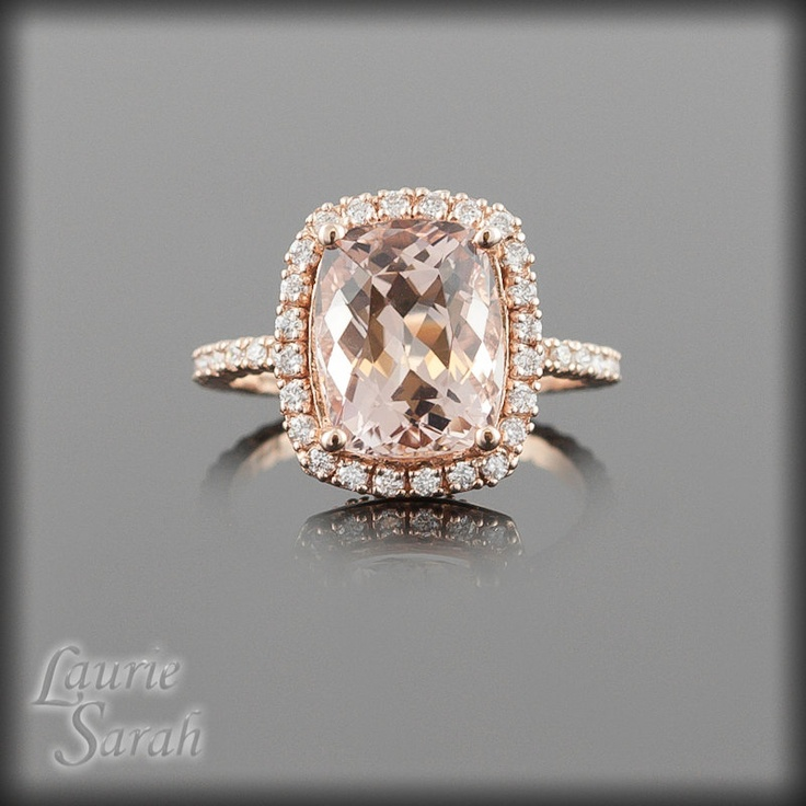 Peach Morganite Engagement Ring Morganite Cushion Cut Ring Rose Gold Morgan