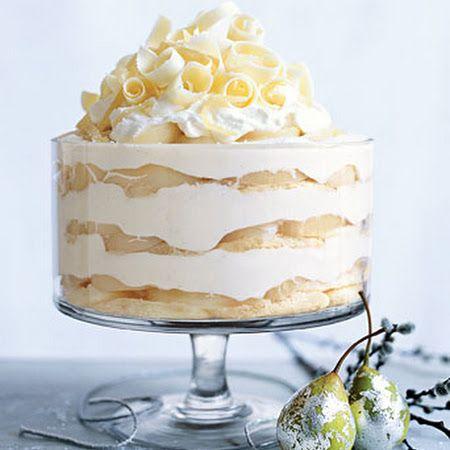 White Chocolate Tiramisu Trifle with Spiced Pears--No Bake