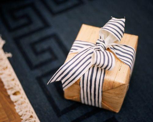 striped ribbon and kraft paper