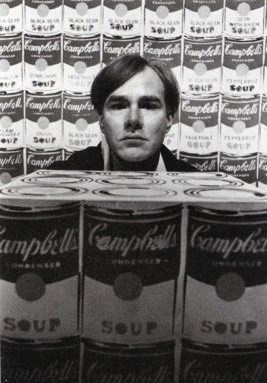 Warhol with 200 Campbell's Soup Cans and Campbell's Soup Box, photographed by Duane Michaels, 1962