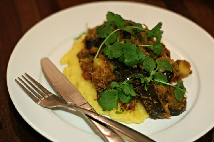 Cooked curried eggplant with fennel-mustard-cumin-coriander spice mix