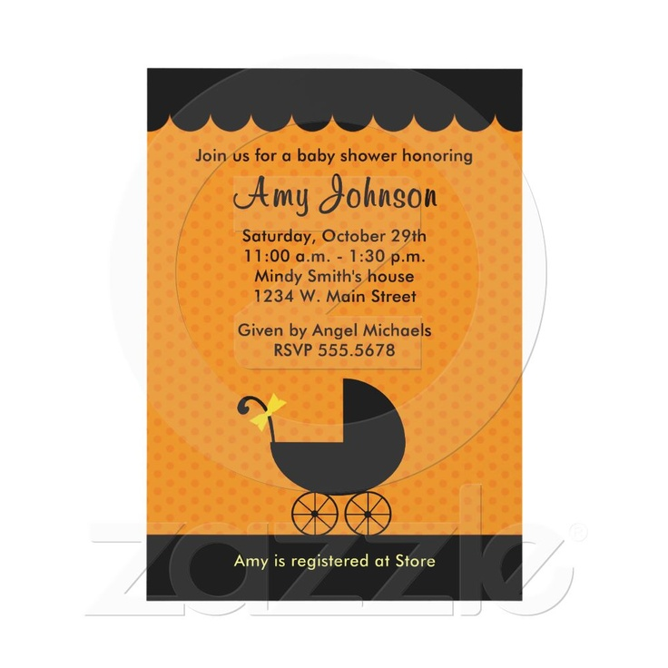 halloween stroller baby shower invitations