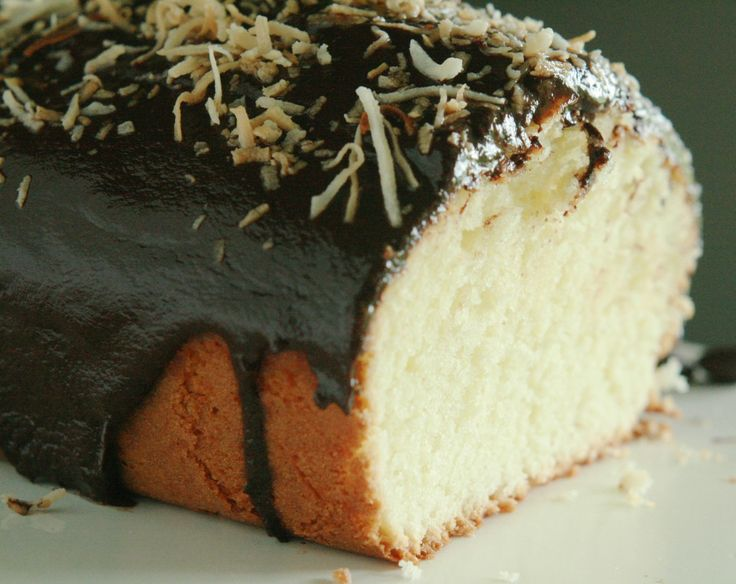 Coconut French Yogurt Cake with Chocolate Ganache Frosting and Toasted ...