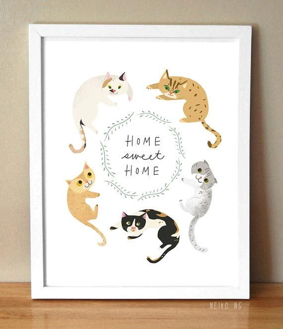 Home Sweet Home Cat Print 8.5X11, Pet Quote Art Print