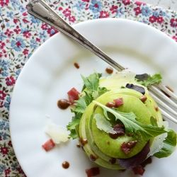 Green Apple Salad with Manchego + Spiced Almond Dressing