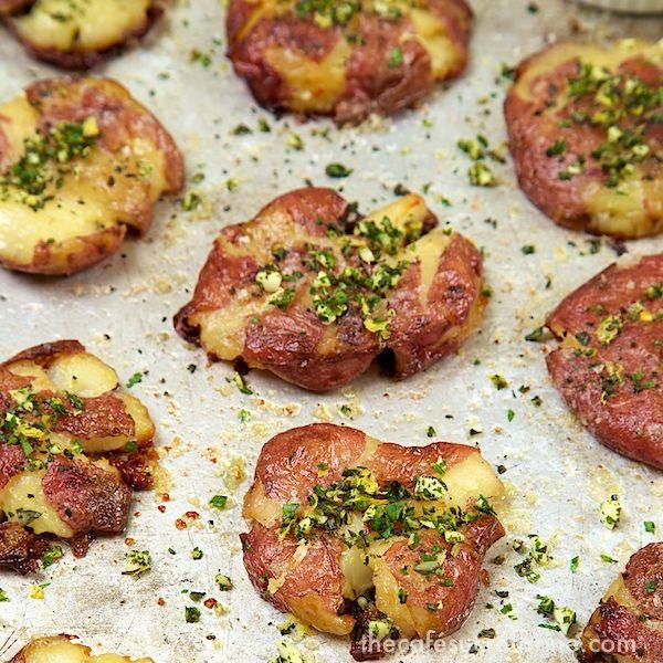 Smashed Potatoes w/ Fresh Herb Gremolata - thecafesucrefarine.com