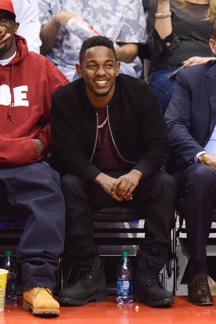 Nothing could kill his vibe. Kendrick Lamar enjoys the Los Angeles Clippers versus Oklahoma City Thunder game on Nov. 13 in Los Angeles