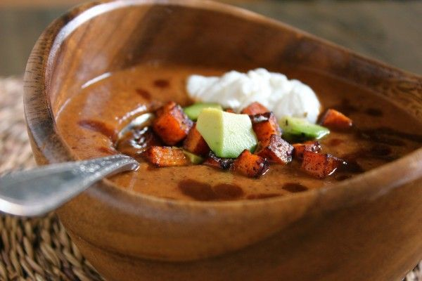 """Spicy Chipotle Black Bean Soup with Crispy Sweet Potato """"Croutons ..."""