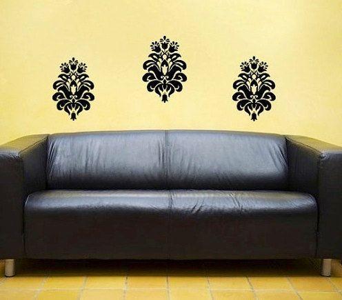 Baroque damask filigree vinyl decal classy wall Art