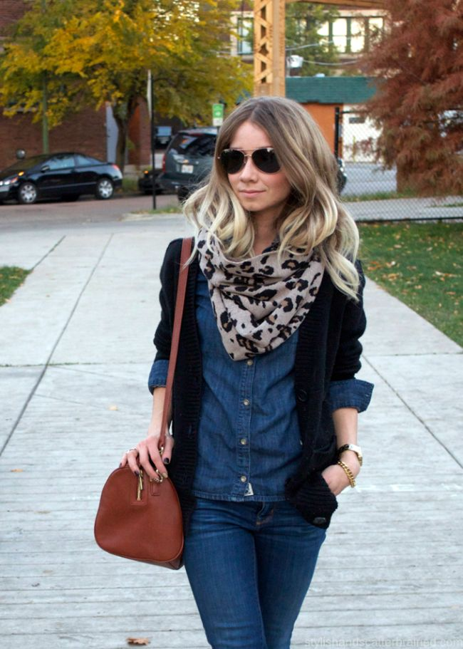 Double Denim + Leopard Scarf
