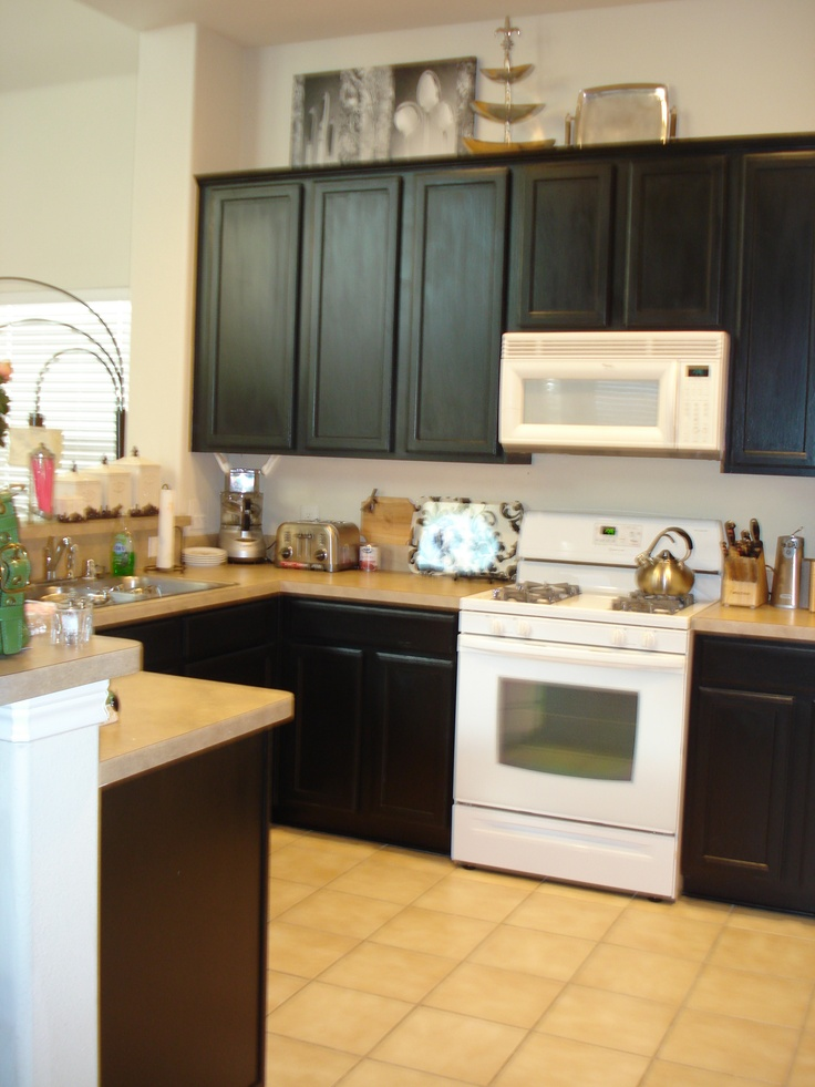 Painted Black Cabinets Kitchen Pinterest