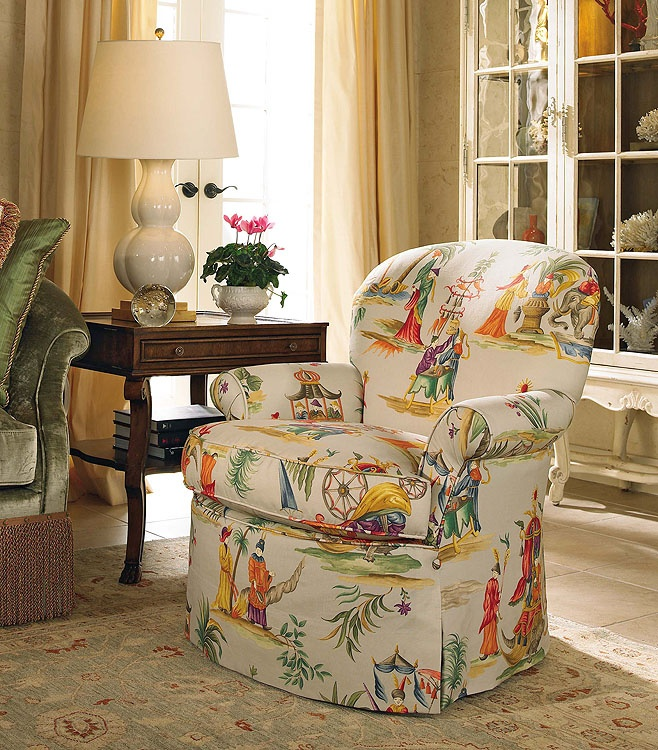 love the colorful chinoiserie fabric for the home
