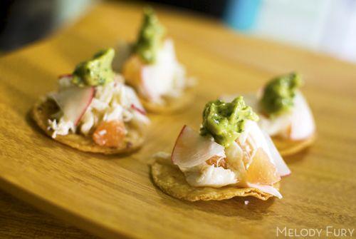 Crab, grapefruit, and avocado tostatas | Wedding Menu Canapés | Pinte ...