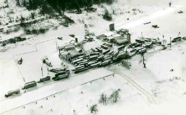 Thanksgiving Storm of 1956   Cars and trucks pulled off the road at truck stops along Route 20 after the road was closed.