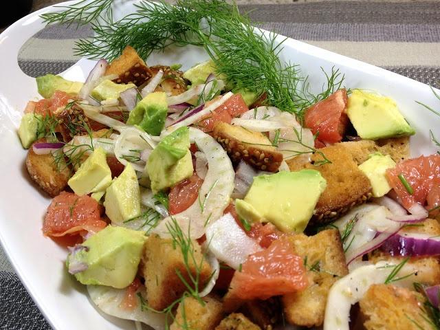 Winter Panzanella Salad with Grapefruit (in season right now), Avocado ...