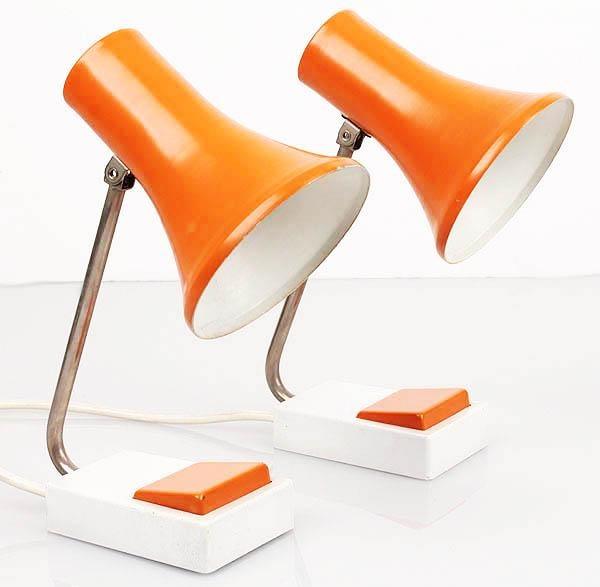 1970 1960 Bedside Pair LAMPS Orange White Panton Poulsen