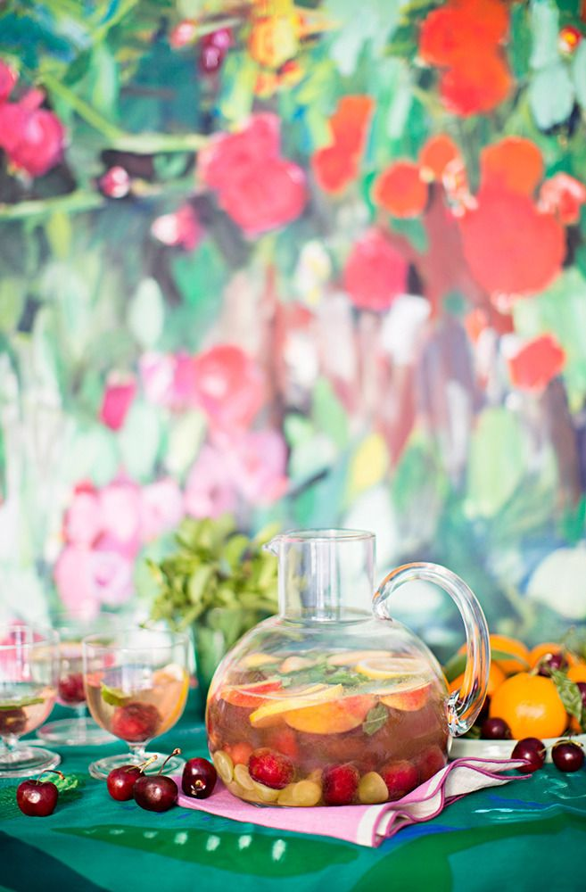 white summer fruit sangria on domino.com just wine, fruit and water # ...