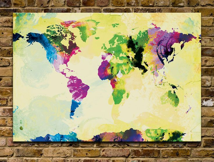 Watercolor World Map 24x36 Canvas Print by sunnychampagne on Etsy
