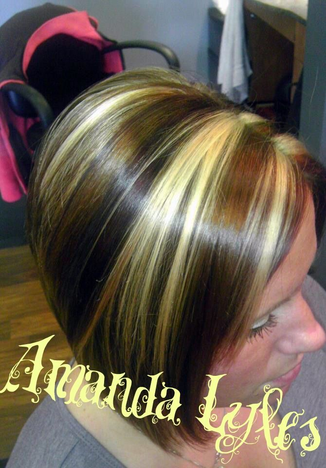 ... Highlights: chunky of copper, blonde and redbrown haircut: inverted