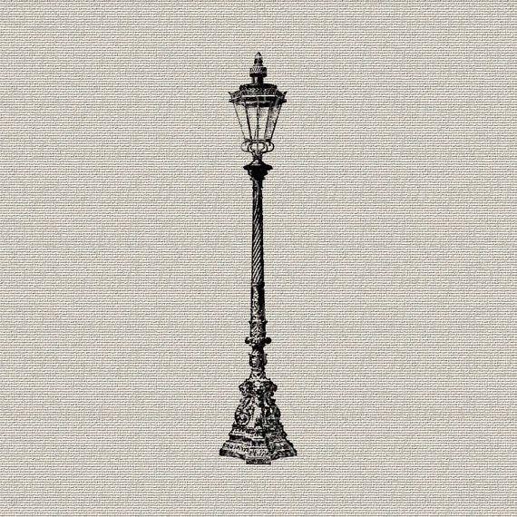 Vintage Lamp Post Outdoor Light Wall Decor Art Printable Digital Down